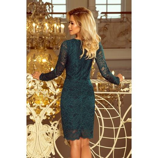 94894ca892 170-3 Sukienka koronkowa z długim rękawkiem i DEKOLTEM - ZIELONA Numoco XL  Yasmine ...
