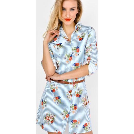 0e91b27480 Sukienka koszulowa w paski i kwiaty z paskiem Zoio bezowy M okazja zoio.pl  ...