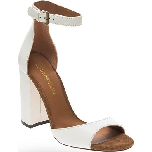 903d3b6b55aa Białe skórzane sandały Emporio Armani na słupku Emporio Armani 36 Velpa.pl  ...