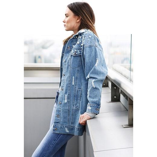 fa1346472ed7 Długa kurtka jeansowa z perłkami CHER niebieska niebieski Modoline  MODOLINE.PL