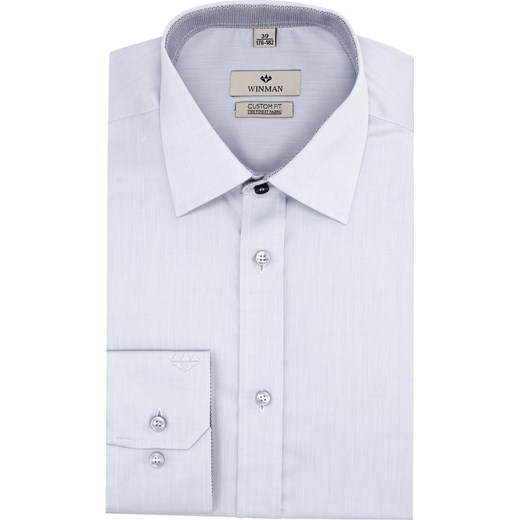 cdc90432d koszula wincode 2621 długi rękaw custom fit niebieski szary Recman  42/176-182