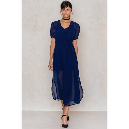 98b2cb1435 Szyfonowa kopertowa sukienka Na-kd Boho 34 wyprzedaż NA-KD