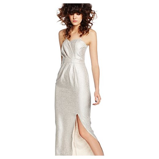 Elise Ryan damski Standard-sukienki Sweetheart Maxi with Side Split, kolor: srebrny  Amazon