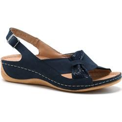 370917b069836 Niebieskie sandały damskie Pollonus bez wzorów casualowe z niskim obcasem  na koturnie