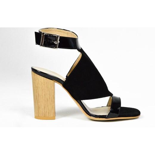 30% OBNIŻONE MargoShoes czarne sandałki na obcasie słupku o