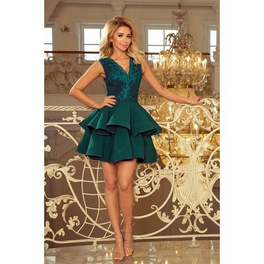 291666c71bd683 ... CHARLOTTE - ekskluzywna sukienka z koronkowym dekoltem - ZIELONA  brazowy Numoco XL merg.pl ...