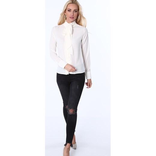 ... Koszula z żabotem i wiązaniem kremowa MP26010 fasardi S fasardi.com ... 4b7f011956