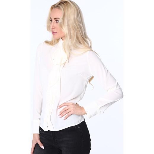 Koszula z żabotem i wiązaniem kremowa MP26010 bialy fasardi S fasardi.com  ... d253c15af5