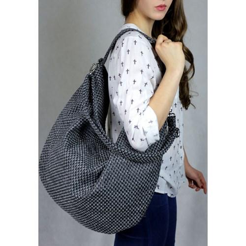 7176e58e6a4ae Duża torba worek szara na ramię -- Infinity zł/ DaWanda. Worek na ramię z  plecionej tkaniny szary melanż