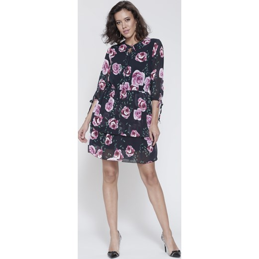 4cd9485898 Czarna Sukienka Magical Flowers fioletowy Renee uniwersalny Renee odzież ...