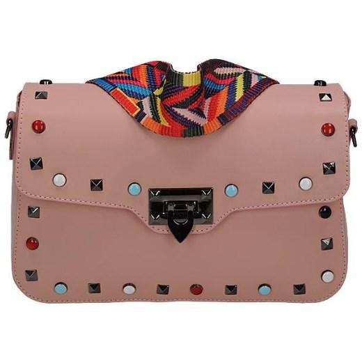 c23dd005d120c Vera pelle włoska torebka skórzana z kolorowym paskiem i ćwiekami  listonoszka różowa Vera Pelle rinkopl ...