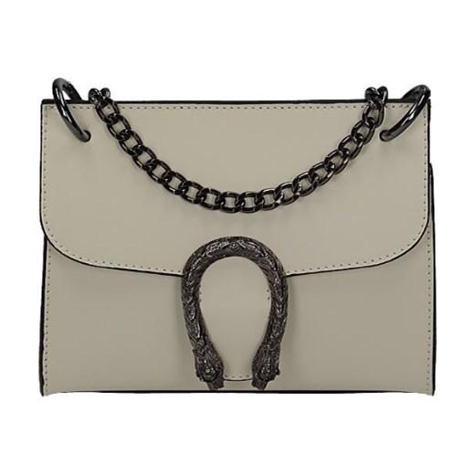 3ff919b64d1b3 Vera Pelle mała włoska torebka z podkową a'la Gucci beżowa skóra naturalna  Vera Pelle ...