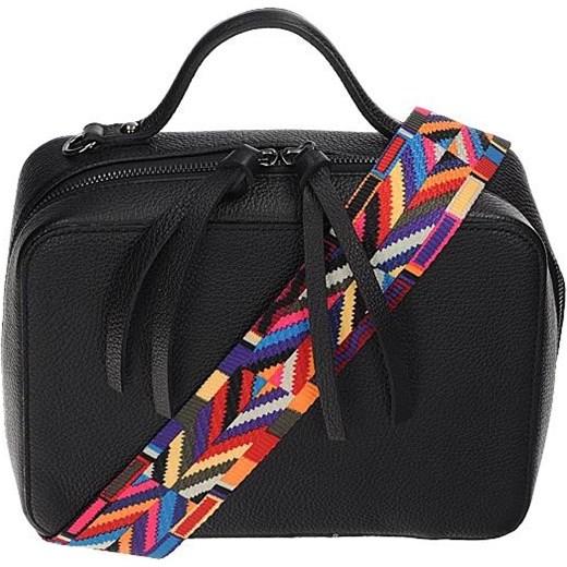 e24f76a71abb8 Vera pelle włoska torebka kuferek z kolorowym paskiem czarny skóra  naturalna Vera Pelle rinkopl ...