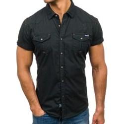 d33587d7c580e Czarne koszule męskie krótki rękaw