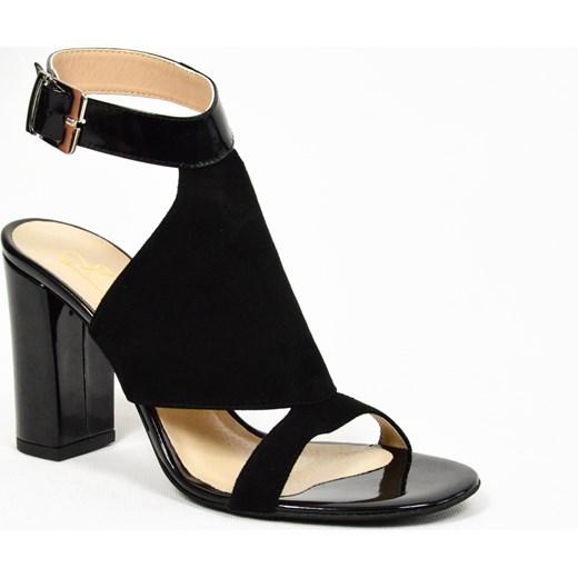 5bb5e641a1f57a MargoShoes czarne letnie sandałki na słupku skóra naturalna produkt polski  wysokość obcasa 8 cm Margoshoes 38