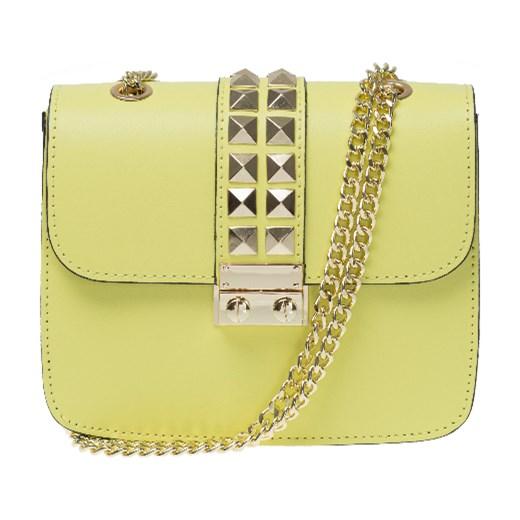 ab7181a18ded0 Włoska mała torebka z ćwiekami Adorable a'la Valentino zółta skóra  naturalna Vera Pelle zolty