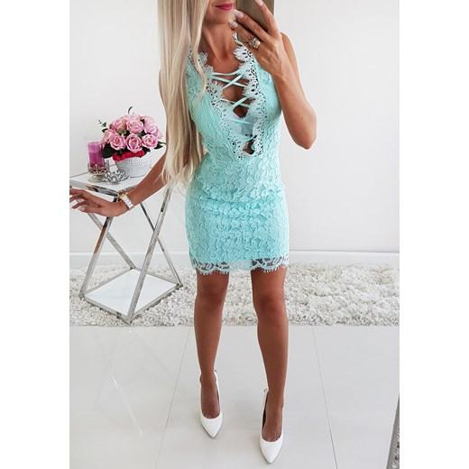 8e50672030 Koronkowa Elegancka Sukienka Mięta Iwette Fashion w Domodi