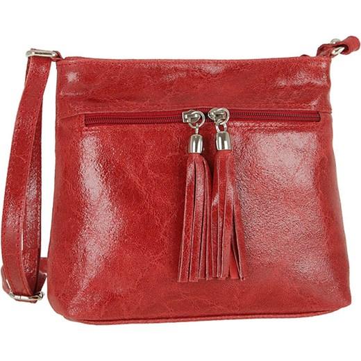 442d51936724d Zgrabna skórzana torebka listonoszka czerwona Carla Berry Evangarda ...