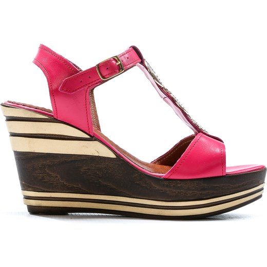 sandałki na koturnie - skóra naturalna model 355 kolor fuksja Zapato okazja zapato.com.pl Buty Damskie ZC wielokolorowy Sandały damskie HKDZ