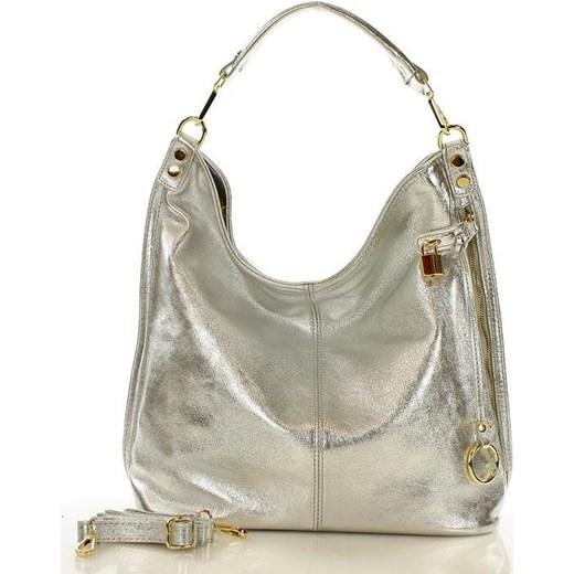 64e308474225b Skóra naturalna torebka worek Isabella żółta srebrny silver Mazzini One  Size okazja merg.pl ...