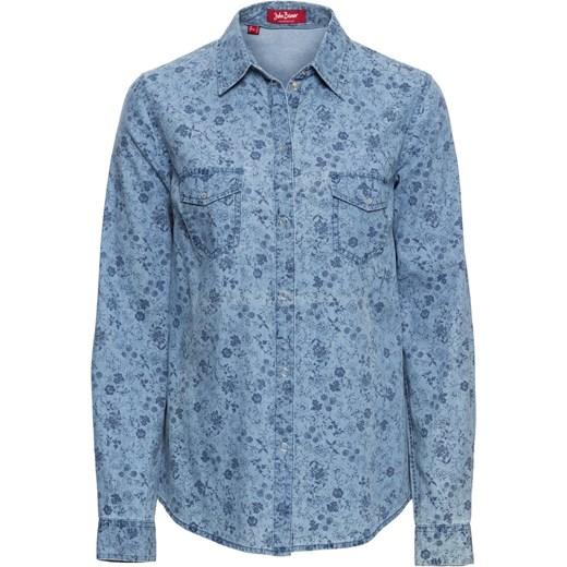 396ff03278f4b3 Bluzka dżinsowa, długi rękaw niebieski John Baner JEANSWEAR bonprix w Domodi
