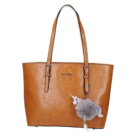 ef55666b3ac19 StylowaTorba.pl Klasyczna brązowa lekko połyskująca torebka damska  shopperka w kolorze koniakowym Ines Delarue Stylowatorba