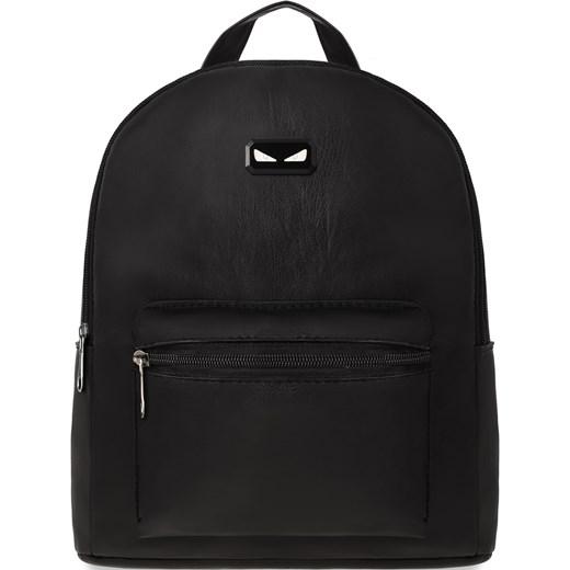 e63e5102be428 Młodzieżowy plecak damski plecaczek miejski skóra eko – czarny  world-style.pl