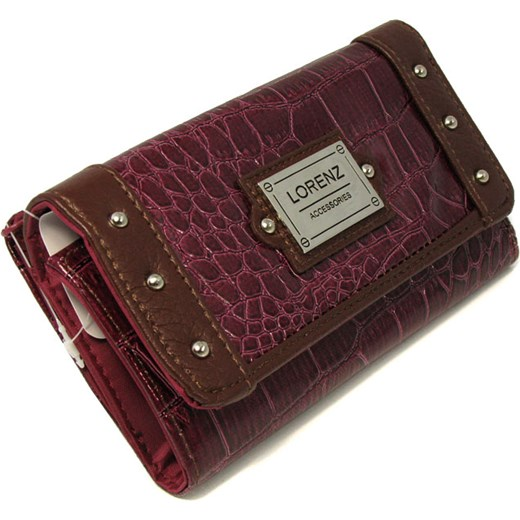82ac31912dd1b Damski portfel Lorenz ze skóry ekologicznej, w kolorze ciemnego różu z  brązowymi zdobieniami amiche-pl