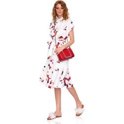 2a81d029121c Sukienka Nissa w kwiaty midi na spacer koszulowa