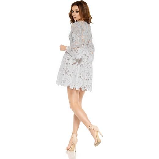 adfcd42d Romantyczna sukienka z koronki jasnoszary Lemoniade merg.pl