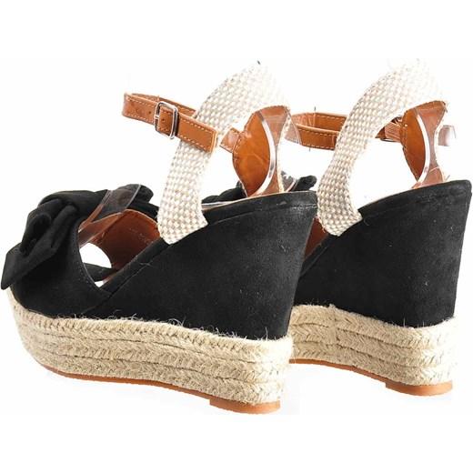 7d9f286e ... Czarne sandały damskie- espadryle na koturnie /B1-3 2038 S591/  Pantofelek24 39 ...