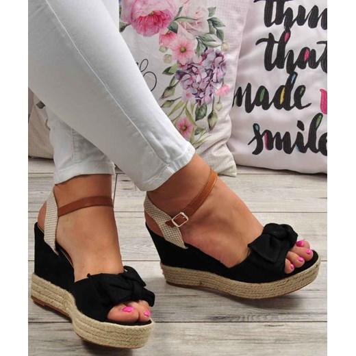 4bf191cb ... Czarne sandały damskie- espadryle na koturnie /B1-3 2038 S591/  Pantofelek24 40