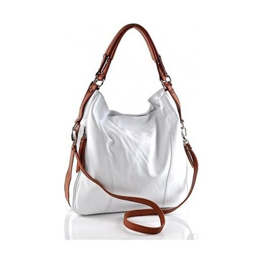 fcea4d18bd938 SARA laza elegancki  Włoska torba damska ze skóry biała SARA laza bialy  elegancki ...