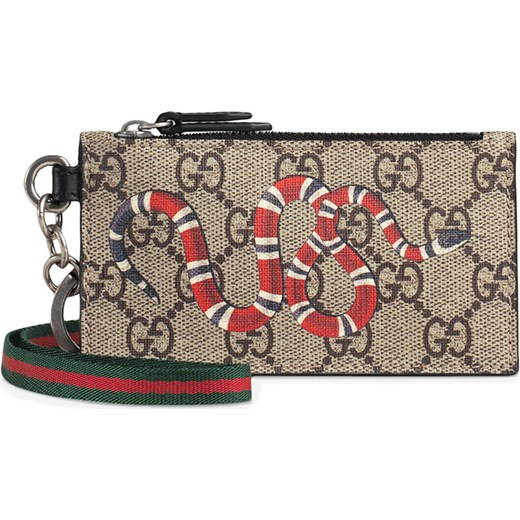 9dae76568dbb Gucci Kingsnake print GG Supreme card case - Nude & Neutrals Gucci One Size  Farfetch ...