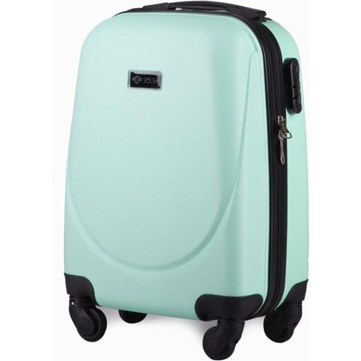 a44f00e7c9cb4 Mała walizka podróżna na kółkach (bagaż podręczny) SOLIER STL310 S ABS  jasnozielona Solier Skorzana ...