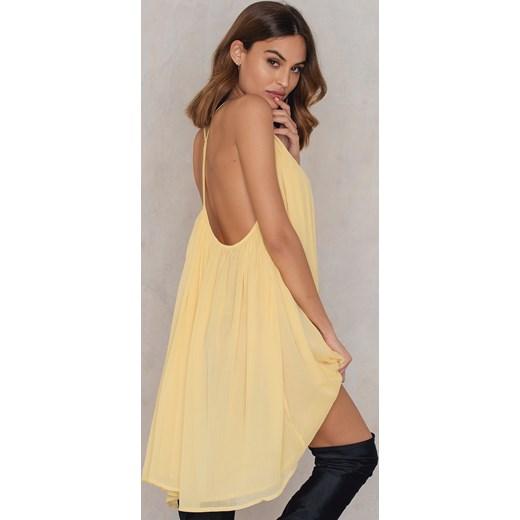 Sukienka NA KD Boho żółta na ramiączkach mini