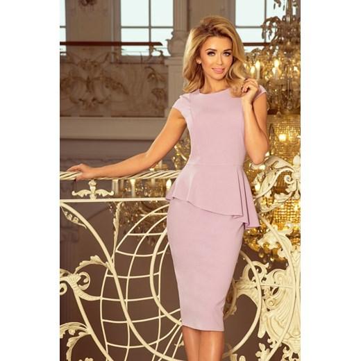 c5101cf57a901d 192-2 Elegancka sukienka MIDI z baskinką - LILA Numoco MyButik.pl w ...