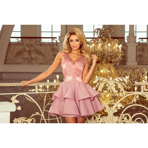 5664ac16d781c0 ... 200-5 CHARLOTTE - ekskluzywna sukienka z koronkowym dekoltem - PUDROWY  RÓŻ Numoco L MyButik ...