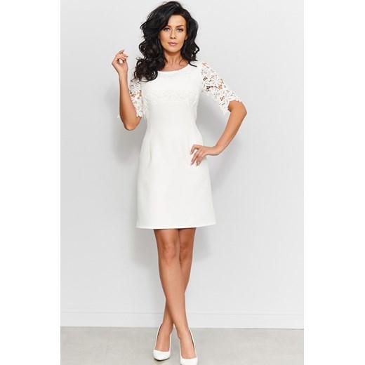 f5582c28ef Sukienka biała wyszczuplająca na wesele  Sukienka biała wyszczuplająca na  wesele elegancka z koronką