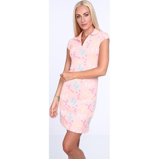 5a06ff0f5d Sukienka polo w motylki jasnoróżowa 7690 fasardi fasardi.com w Domodi