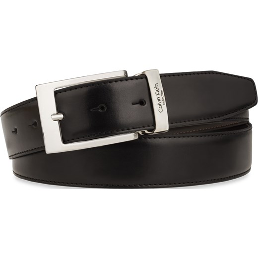 cc0ddf522f18b ... Skórzany pasek męski calvin klein ze sprzączką – czarno-brązowy Calvin  Klein world-style ...