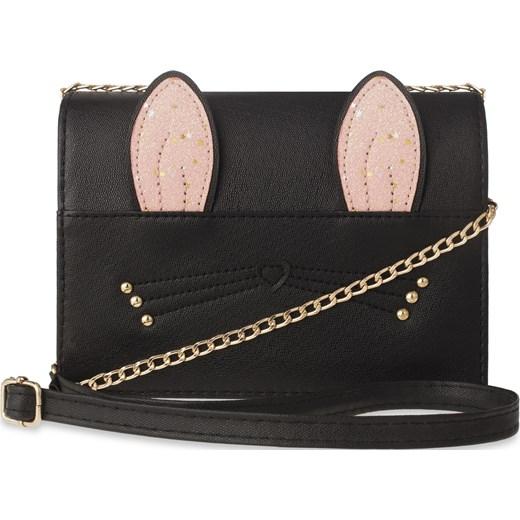 c0339e8a8912b Dziewczęca listonoszka elegancka torebka młodzieżowa kotek z uszkami –  czarny world-style.pl