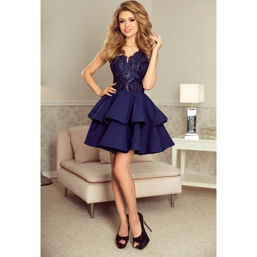 abb44b29a0 200-2 CHARLOTTE - ekskluzywna sukienka z koronkowym dekoltem - GRANATOWA  Numoco XL MyButik.