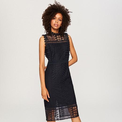 9d1781ae90dc Reserved - Ażurowa sukienka midi - Granatowy Reserved 38