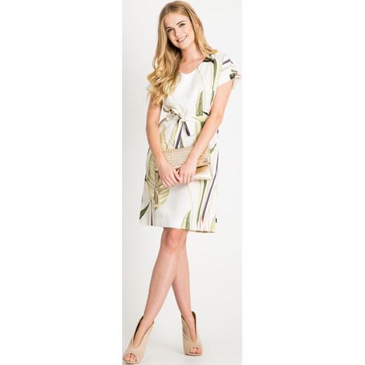 40e27212b658 ... Lniana sukienka ecru w liście Quiosque 46 wyprzedaż quiosque.pl