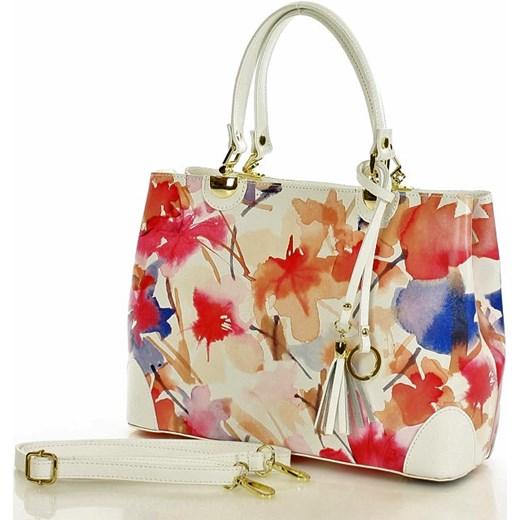9146b938c2bab Torebka italian bag kuferek skóra MAZZINI - Alice biała kwiaty Verostilo