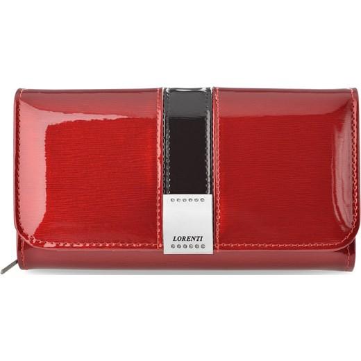 2be37a91d7d6f Lakierowany portfel damski lorenti elegancka skórzana portmonetka z  kryształkami – czerwony Lorenti world-style.