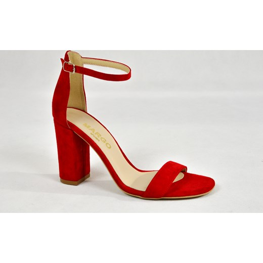 czerwone sandały damskie na obcasie 8cm