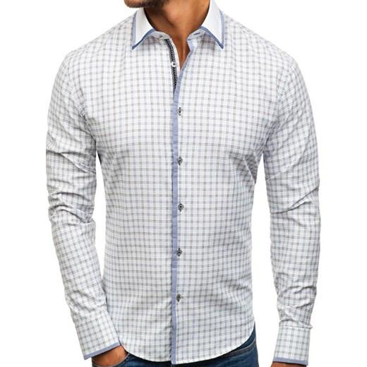 050e07cd2930a7 Koszula męska w kratę z długim rękawem biało-czarna Bolf 8812 Denley L ...