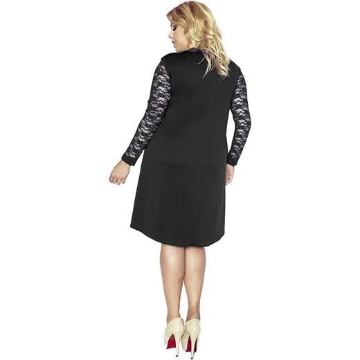 3deab81011 Trapezowa sukienka z przedłużonym tyłem i koronką KM161PS kartes-moda  czarny midi. Zobacz  Kartes Moda
